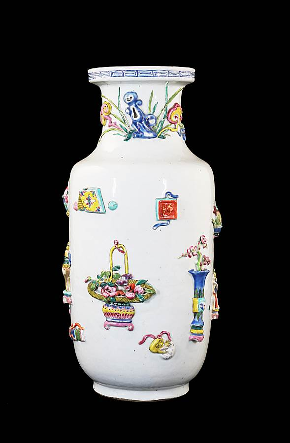 Chinese Porcelain Famille Rose Rouleau Vase with Appliqué decoration