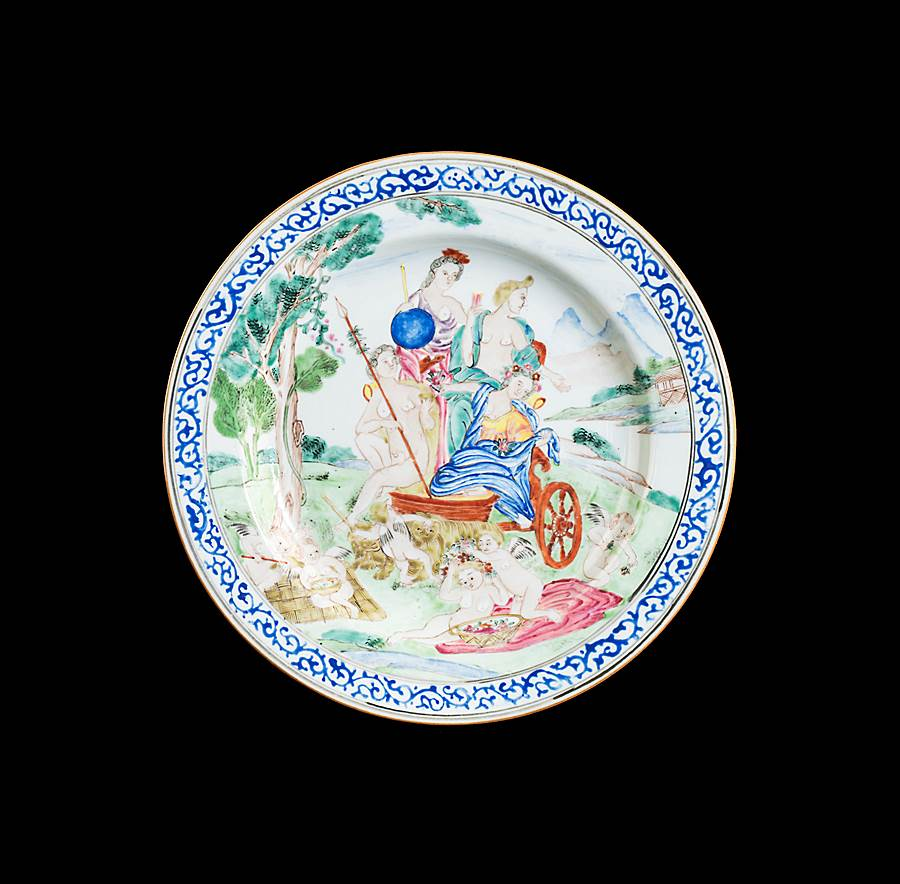 Chinese export porcelain famille rose dinner plate with European subject image of Earth after Albani