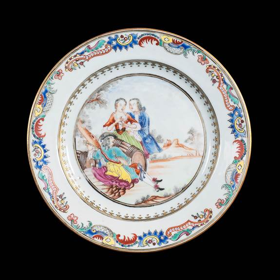 Chinese export porcelain famille rose dinner plate with European subject