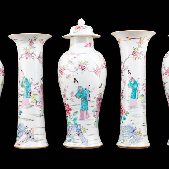 Chinese export porcelain famille rose tall garniture