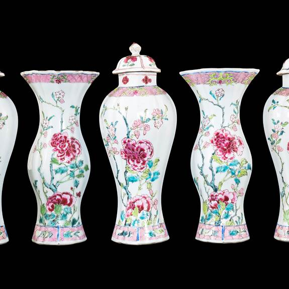 Chin export porcelain famille rose garniture of lobed forms