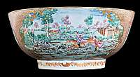 Chinese export porcelain famille rose punchbowl with hunting scenes and a ship to the interior