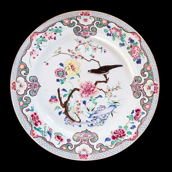 Massive Chinese export porcelain famille rose Charger with a Myna Bird