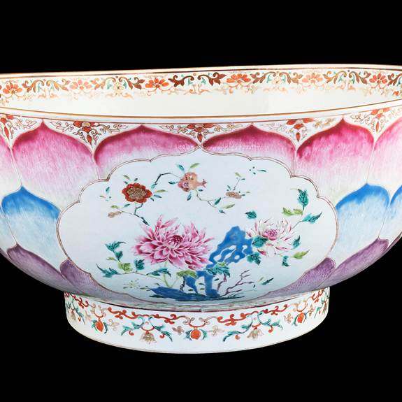Massive Chinese export porcelain famille rose lotus Christening bowl