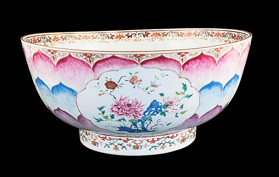 Massive Chinese export porcelain famille rose lotus Christening bowl