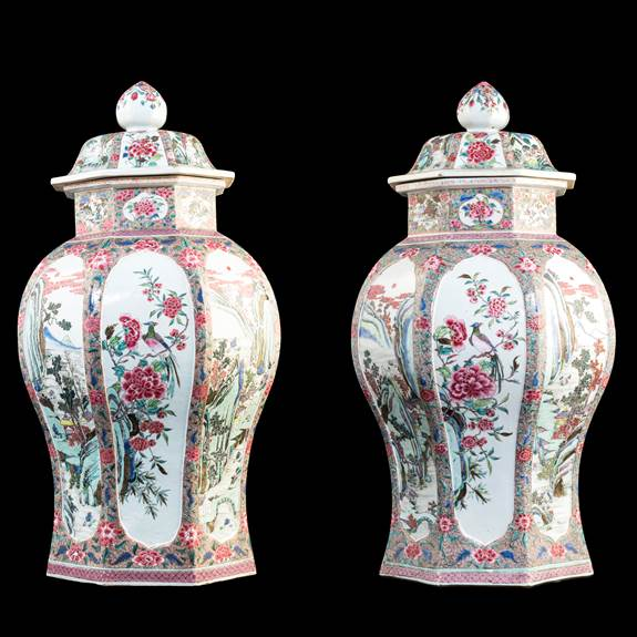 Pair of Chinese export porcelain famille rose vases of octagonal section