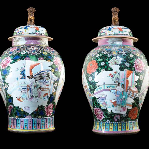 Large pair of Chinese export porcelain black ground vases & covers