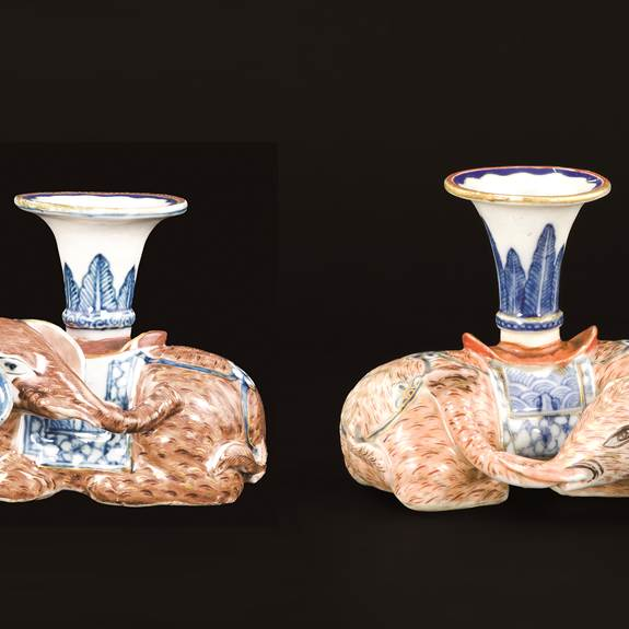 Matched Pair of Chinese export porcelain elephant candlesticks