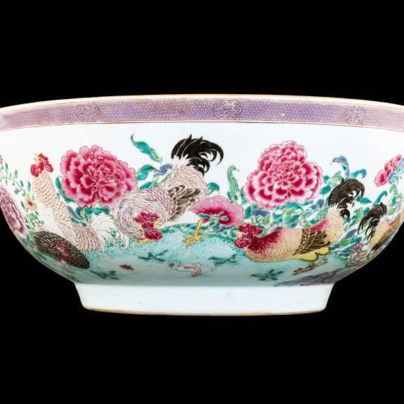 The W Martin-Hurst punchbowl: Chinese famille rose porcelain.
