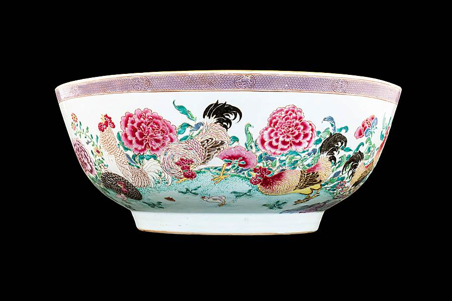 The W Martin-Hurst punchbowl: Chinese famille rose porcelain.