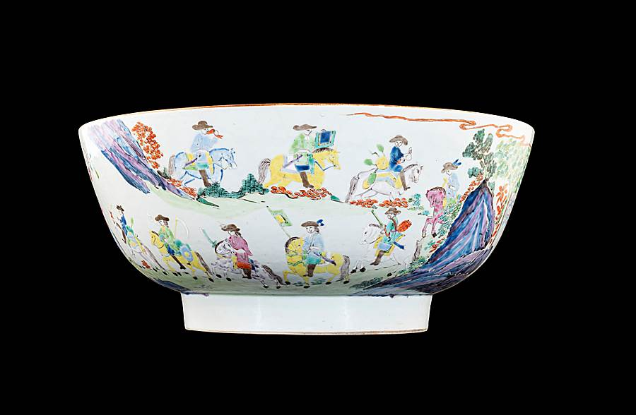 Chinese export porcelain famille rose punchbowl with a Dutch procession to meet the Chinese Emperor