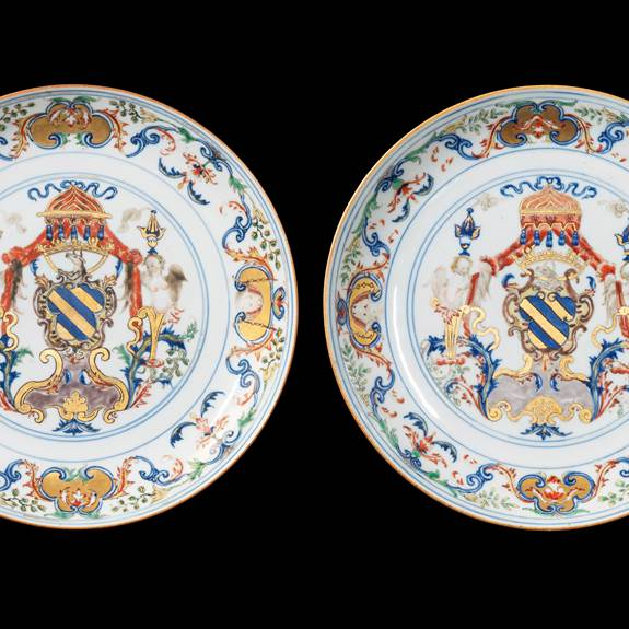 Par Chinese export porcelain armorial saucer dishes, Portuguese arms of Ataide