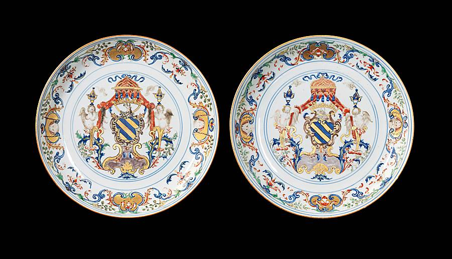 Pair of Chinese export porcelain armorial saucer dishes, Portuguese arms of Ataide