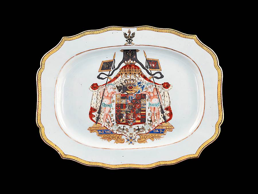 Chinese export armorial meatdish, arms of Frederick the Great of Prussia