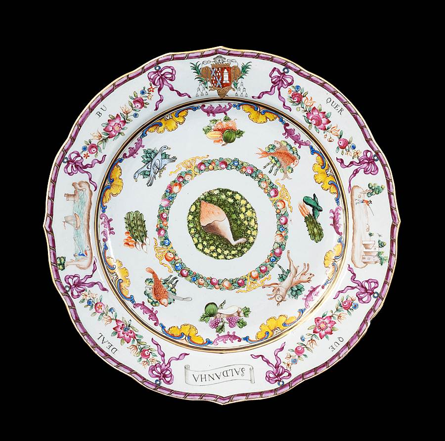 GG: Chinese armorial dinner plate, arms of Saldanha e Albuquerque