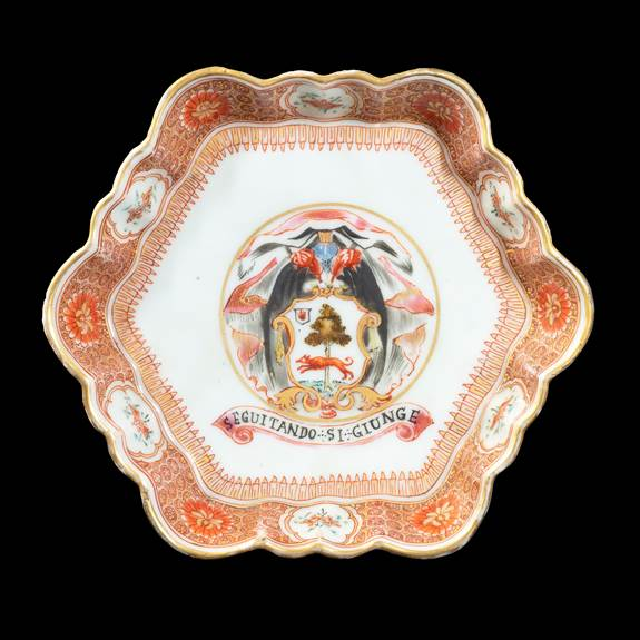 GG: Chinese export armorial porcelain teapot stand, arms of Lambert