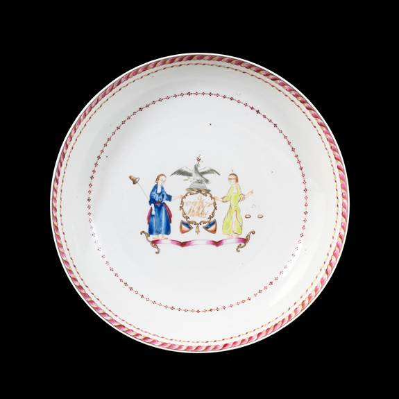 GG: Chinese export armorial porcelain saucerdish, arms of New York