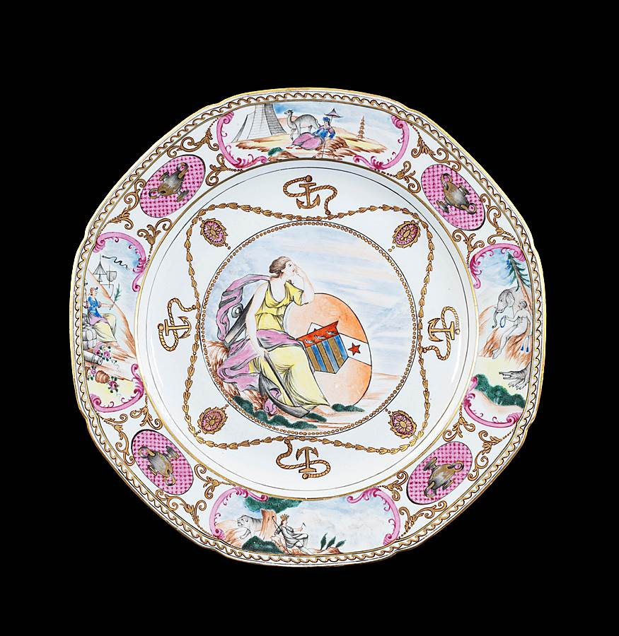 GG: Chinese armoral porcelain dinner plate, arms of Ker with Martin in pretence