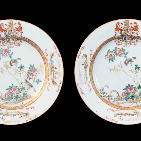 GG: Pair of Chinese armorial dinner plates, arms of Sharpe impaling Cartwright