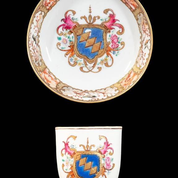 GG:  Chinese armorial porcelain cup and saucer, arms of Sainsbury