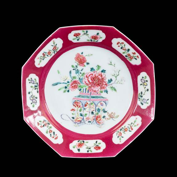 GG: Chinese famille rose semi-eggshell porcelain dinner plate with ruby ground