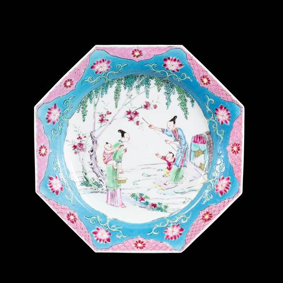 GG: Chinese famille rose semi-eggshell porcelain dinner plate blue and pink border