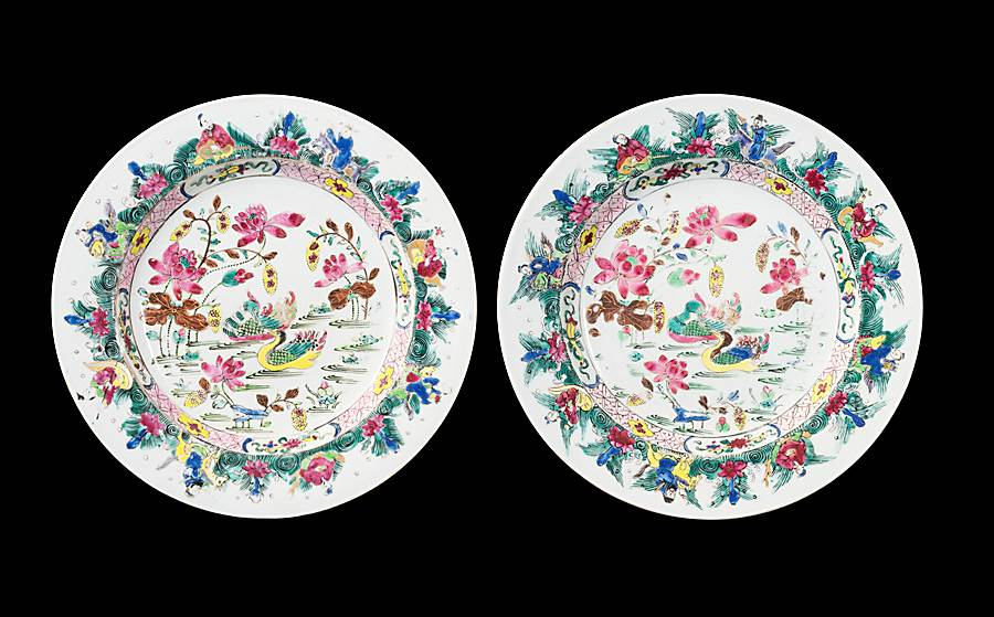 GG: Pair of Chinese export porcelain famille rose dinner plates with Mandarin ducks
