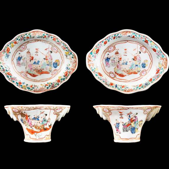 GG: Pair of Chinese export porcelain famille rose libation cups and stands
