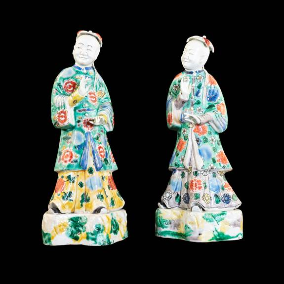 GG: Pair of Chinese porcelain famille verte biscuit figures