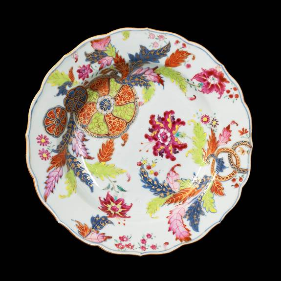 GG: Chinese export porcelain famille rose soup plate with a pseudo tobacco leaf pattern