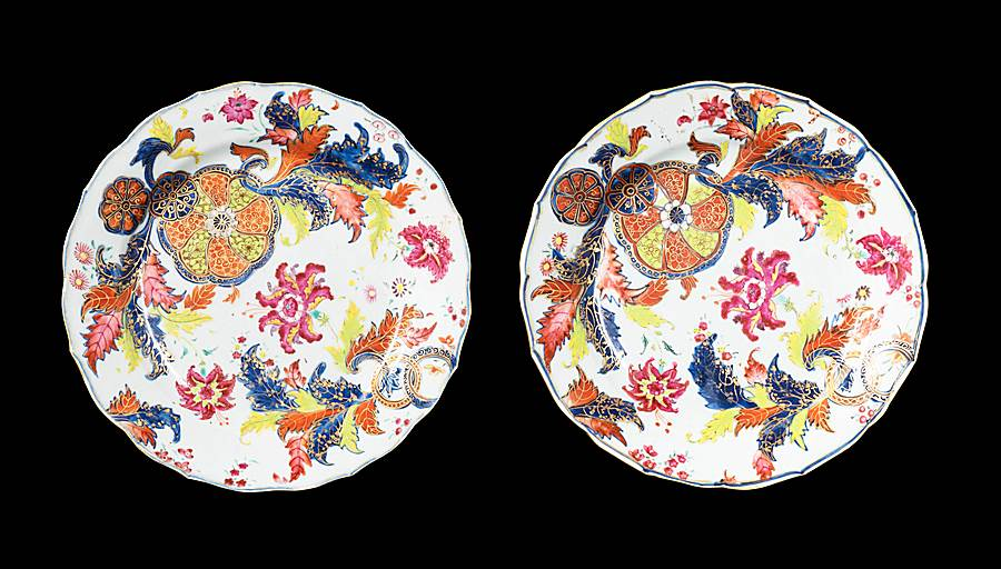 GG: Pair of Chinese export porcelain famille rose dinner plates with a pseudo tobacco leaf pattern