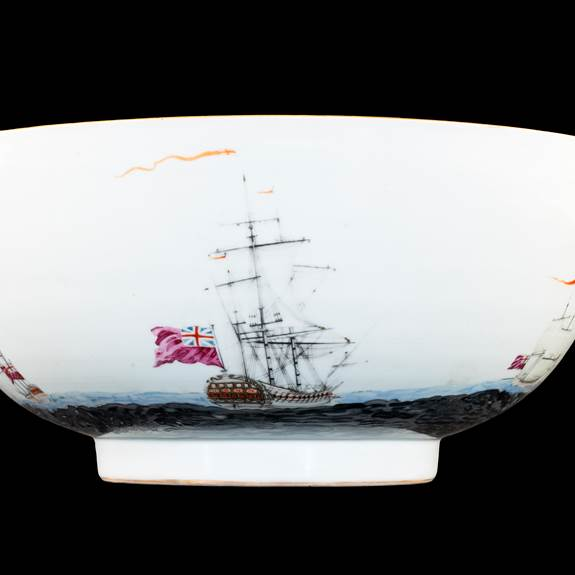 GG: Chinese export porcelain maritime subject punchbowl