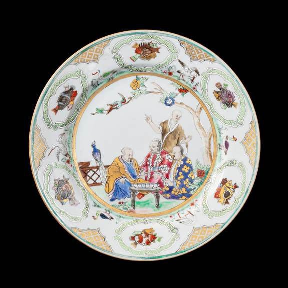 GG: Chinese export porcelain famille rose Pronk Doctor's Visit large plate