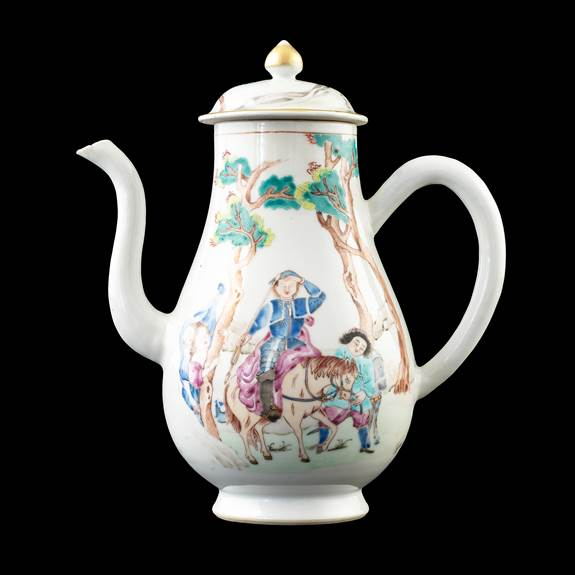 GG: Chinese export porcelain famille rose coffee pot and cover, Don Quixote
