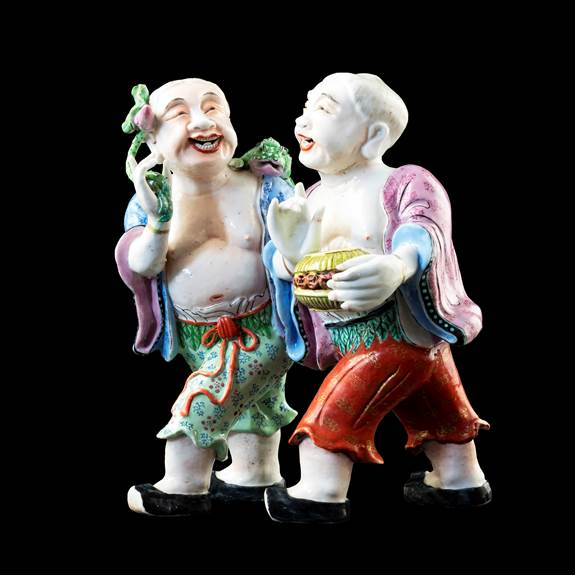 GG: Chinese export porcelain famille rose figure group of the Hehe Erxian