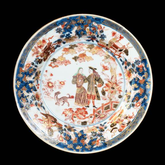 GG: Chinese export porclain Imari palette dinner plate with European Couple