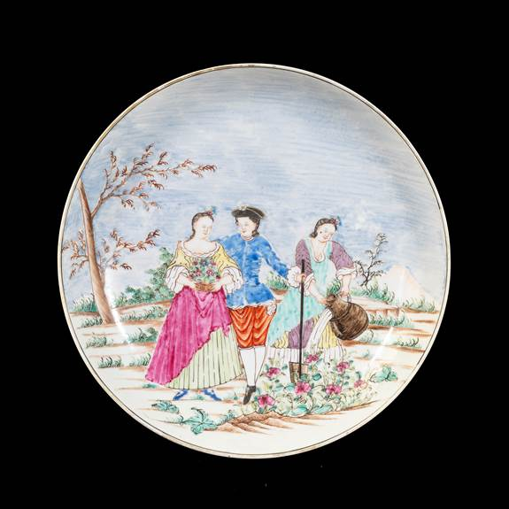GG: Chinese export porcelain saucer dish with European Subject, Spring after Lancret