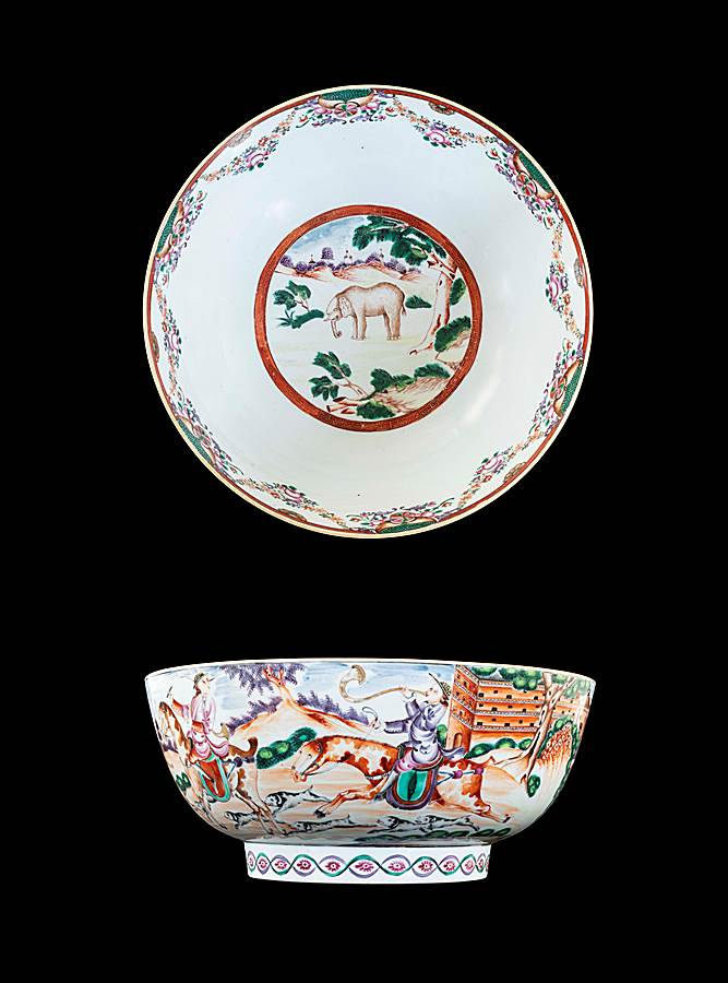 GG: Chinese famille rose porcelain punchbowl with hunting scenes and an elephant