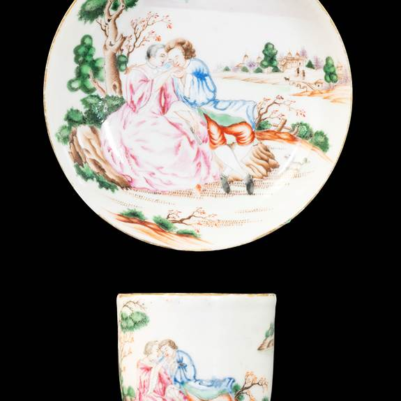 GG: Chinese export porcelain famille rose cup and saucer with European Subject