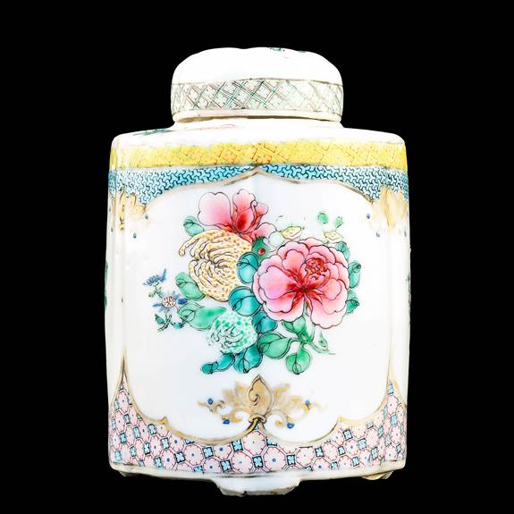 Chinese porcelain famille rose teacaddy form the Martin Hurst collection