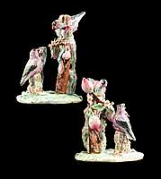 Pair of Chinese export porcelain famille rose figure groups of birds
