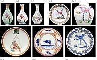 Chinese export porcelain garniture with the parrot design attributed to the Pronk Workshop