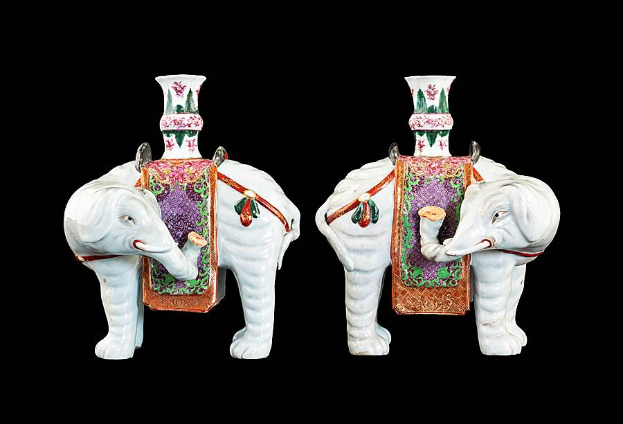 Pair of Chinese export porcelain elephant form candelsticks
