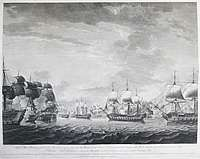 Chinese export porcelain punchbowl painted en grisaille with the Battle of the Saintes