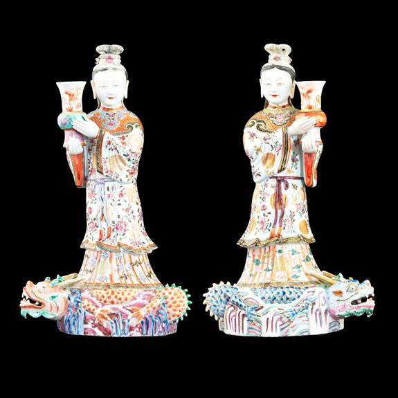 Pair of Chinese porcelain famille rose wall sconces modelled as ladies on dragons