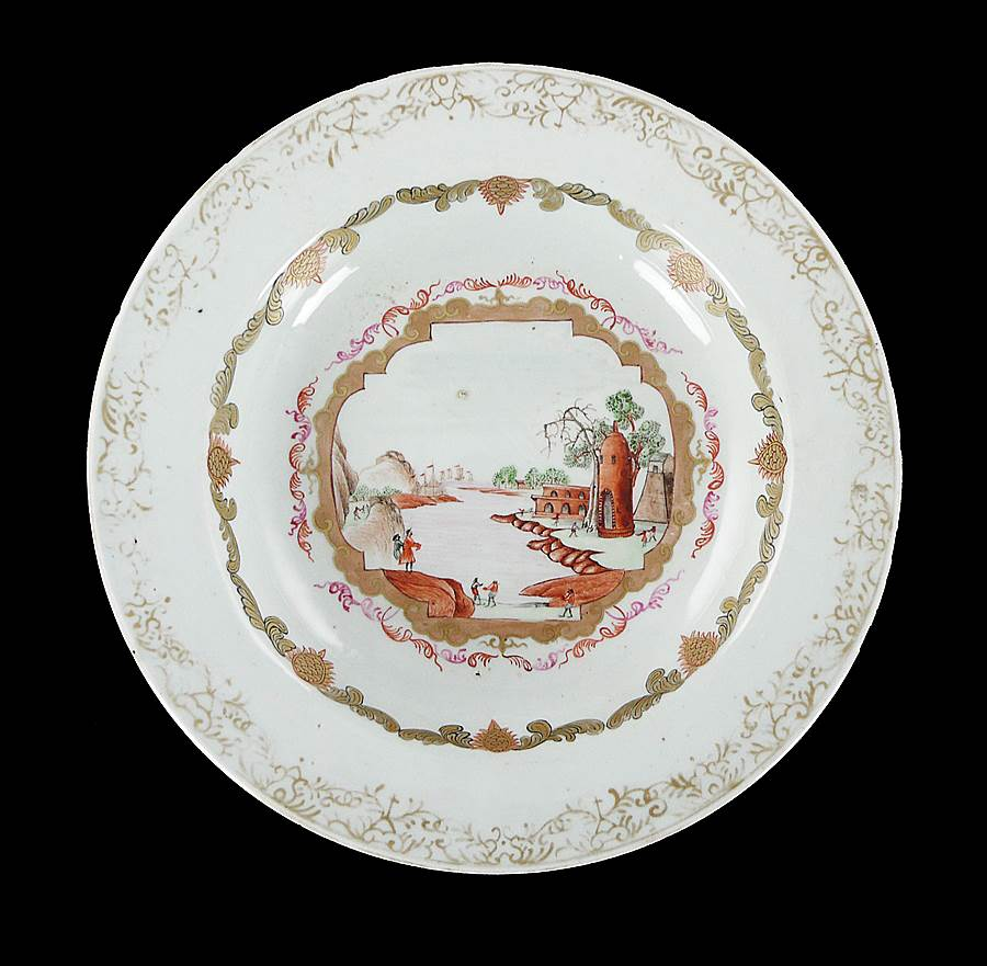 Chinese export porcelain famille rose soup plate with a Meissen style scene