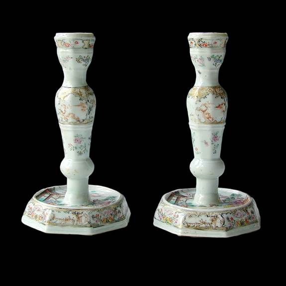 Pair of Chinese famille rose porcelain candlesticks