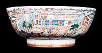 Chinese Export Porcelain Punchbowl with the Hongs at Canton