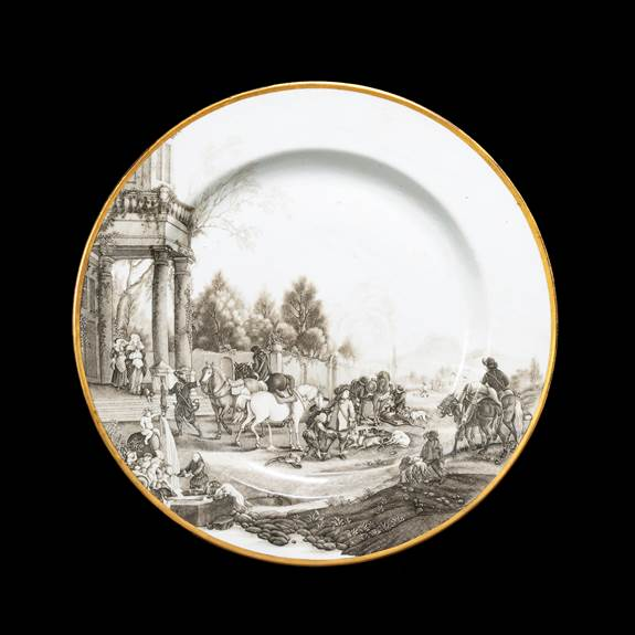 Chinese Export Porcelain Armorial Charger with Grisaille Hunt Scene