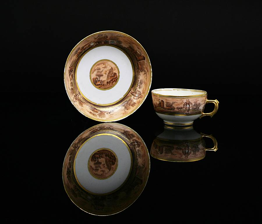 chinese export porcelain european subject cup and saucer